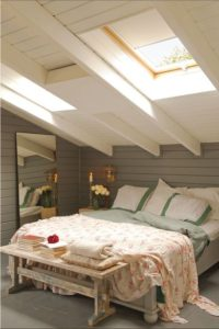 Bedroom skylights with blinds.