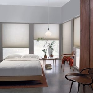 Bedroom with light-filtering shades