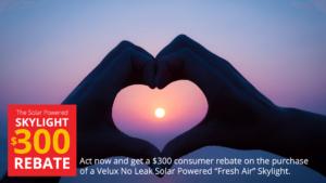 $300 Velux Solar Skylight Instant Rebate