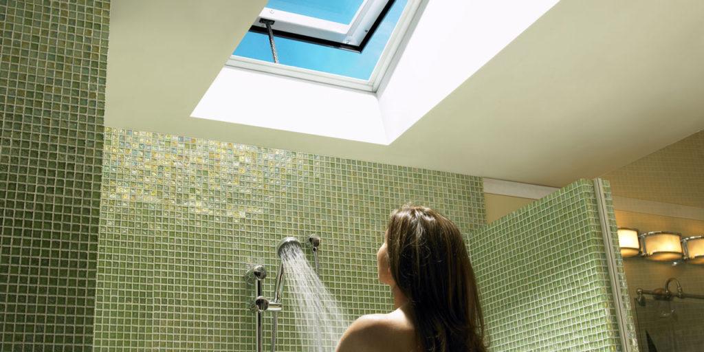 Venting skylight above shower.