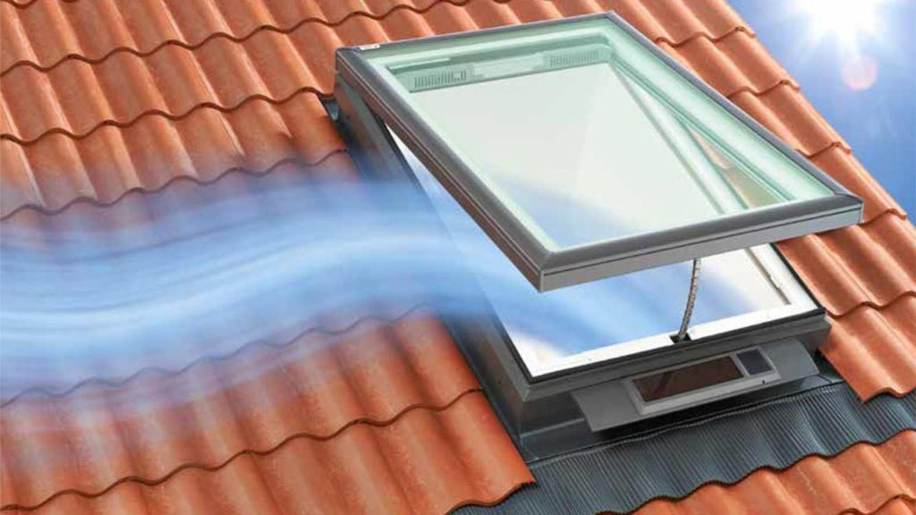 Venting skylight on tile roof.