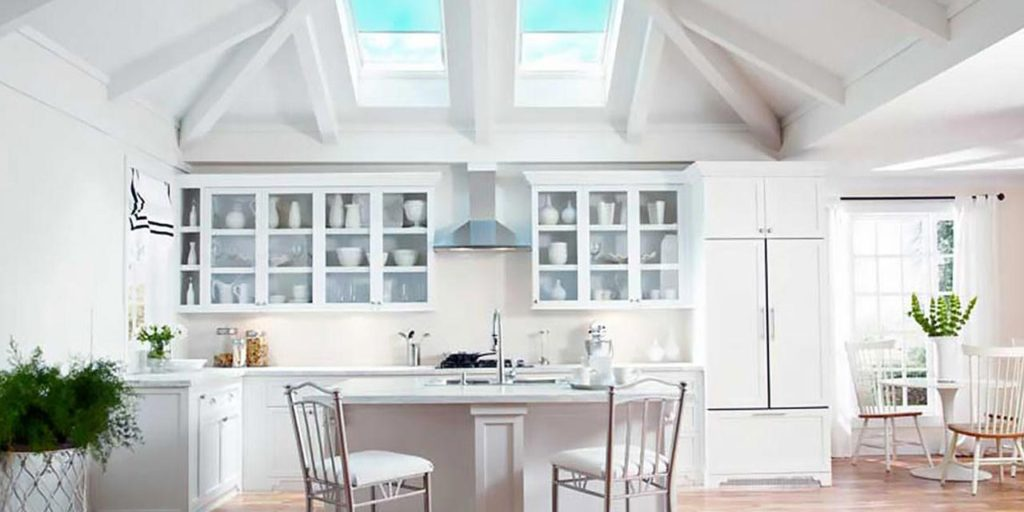 Skylights and kitchen cabinets.