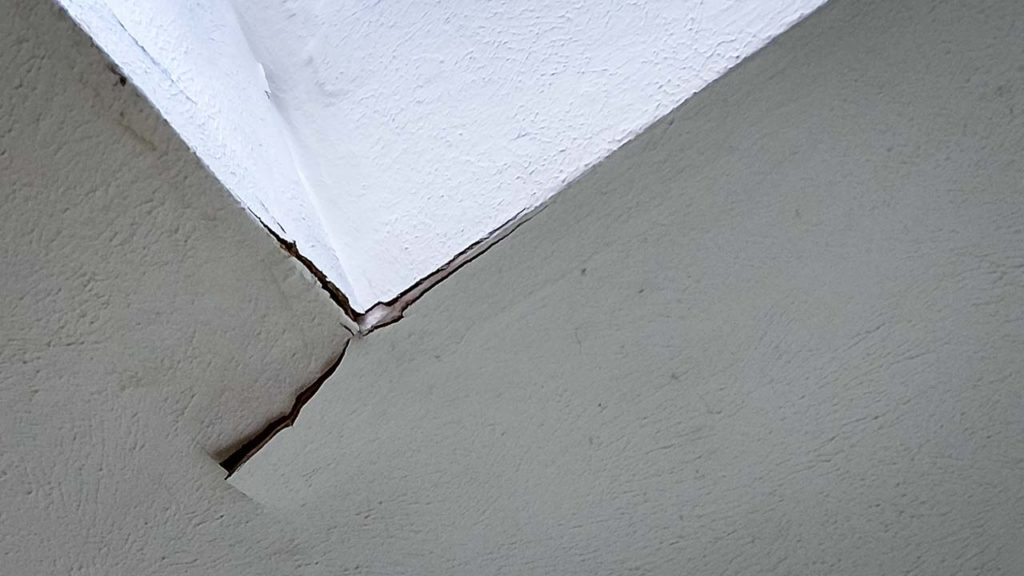 Drywall damage due to a flashing leak.