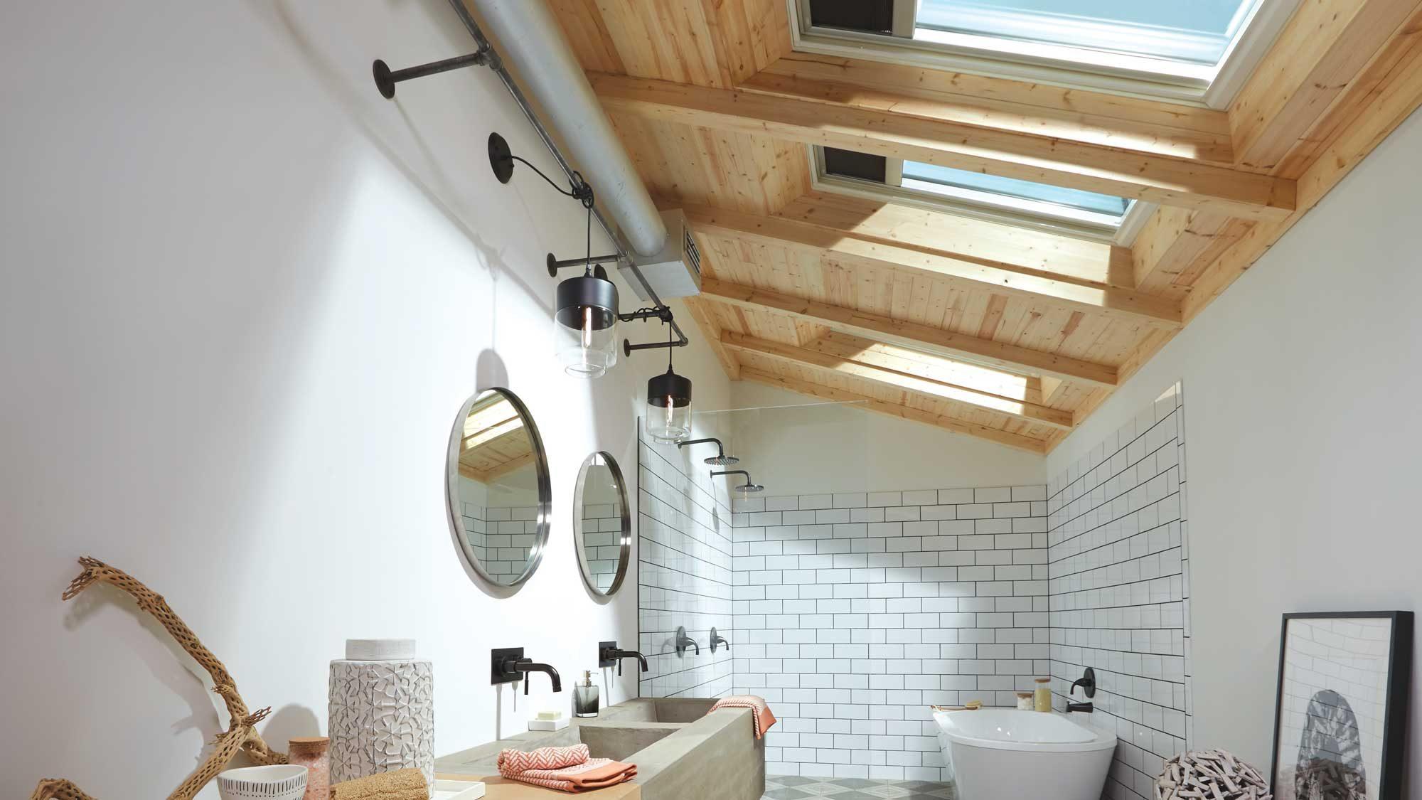 bathroom wood ceiling