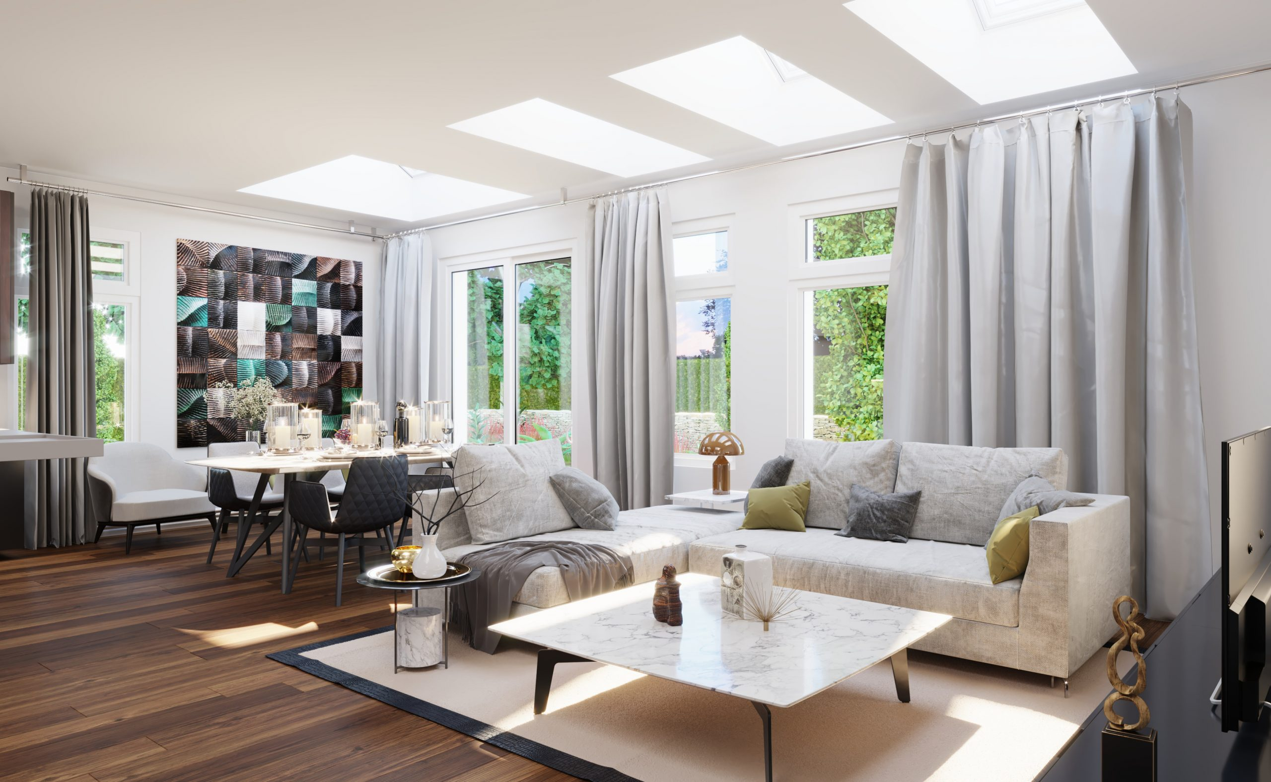 living room skylight gray