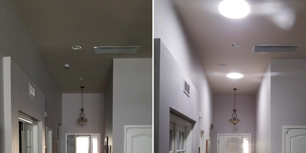 entryway Velux Sun Tunnels 31242 before after