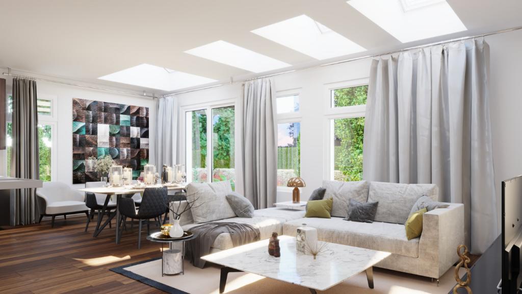 skylights in living room.